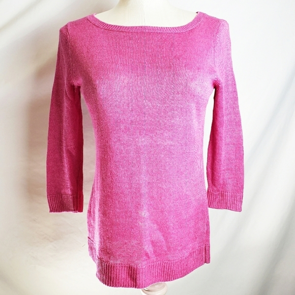 Talbots Sweaters - Talbots 100% LINEN pink spring sweater size small